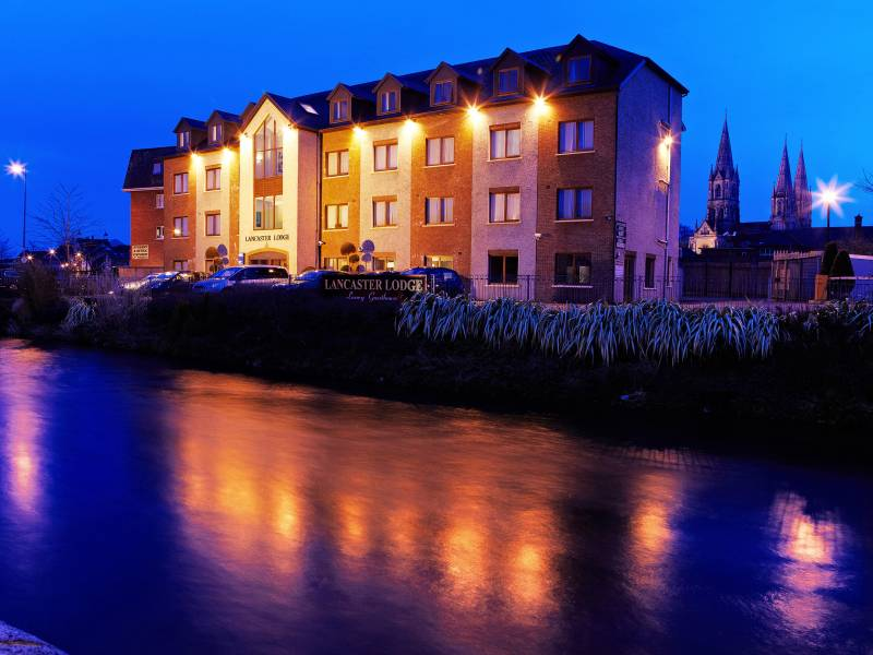 Lancaster Lodge, exteriors: View from the river